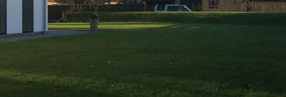 Anlæg af græsplæne Holbæk, Odsherred, flot have med hvid bil i baggrunden