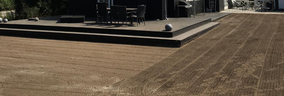 Anlæg af græsplæne Holbæk, Odsherred, såning af græs udført
