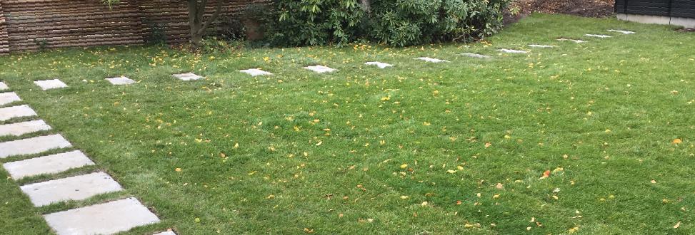 Anlæg af græsplæne Holbæk, Odsherred, græsplæne med fliser og blade